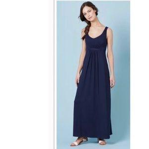Boden Navy Blue Jersey Cinched Waist Maxi Dress